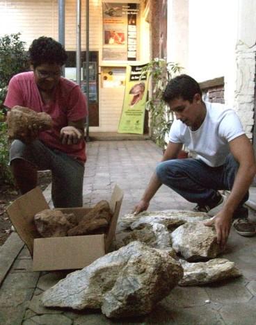 Sánchez y Tettamanti revisando los fósiles